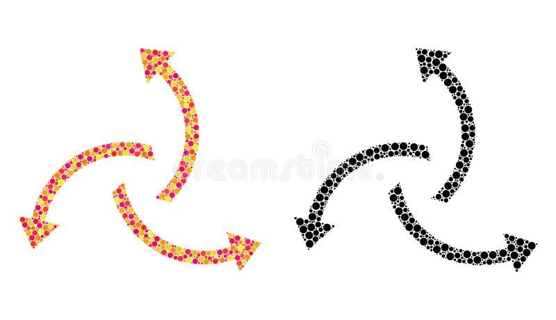 Prickiga centrifugala pilmosaiksymboler stock illustrationer