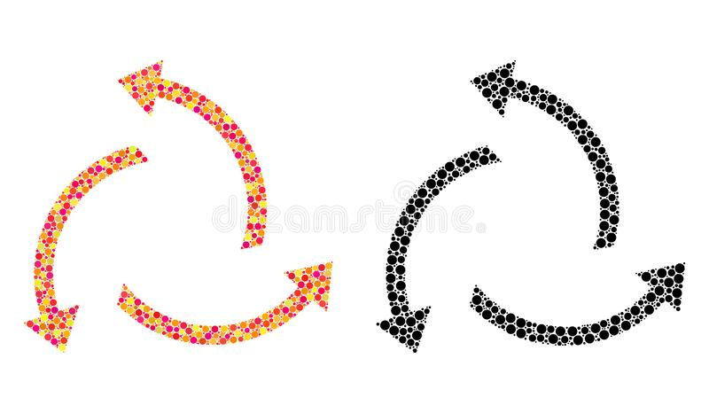 Prickiga centrifugala pilmosaiksymboler royaltyfri illustrationer