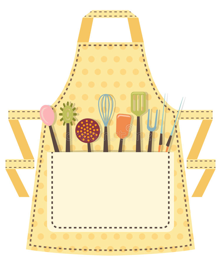 Prickigt kökförkläde med köksgeråd i vektor illustrationer