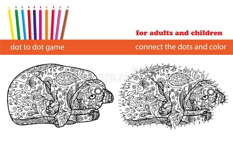 pricklek till Färga och prick som pricker den bildande leken för vuxna människor och ungar vektor illustrationer