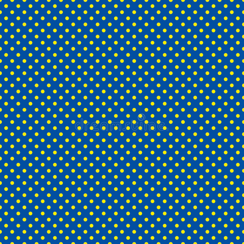 Prickmodellen Sömlös vektorillustration med rundacirklar, prickar blå yellow stock illustrationer
