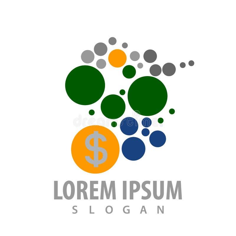 Prickmolekyl med design för begrepp för logo för dollarpengartecken För mallbeståndsdel för symbol grafisk vektor royaltyfri illustrationer