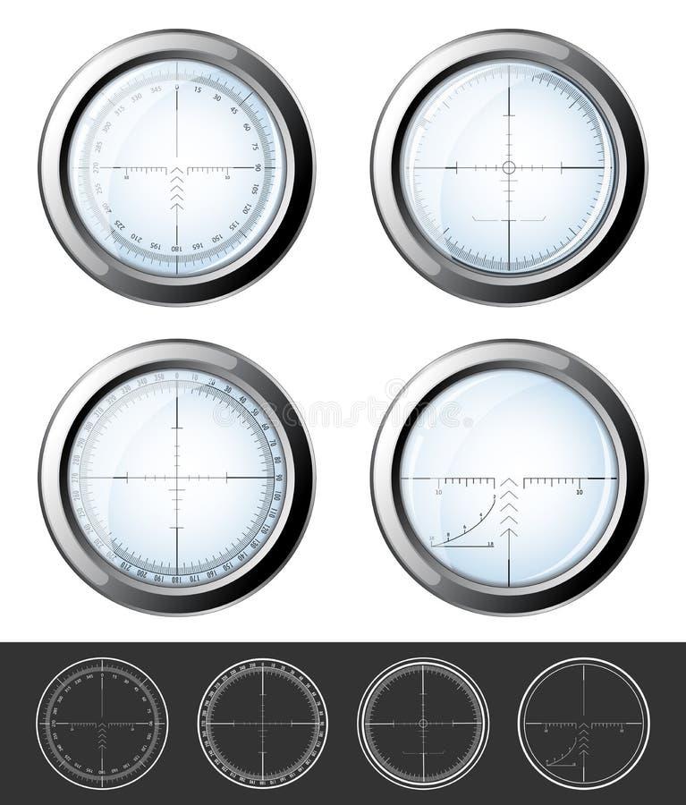 Prickskyttcrosshairsuppsättning stock illustrationer