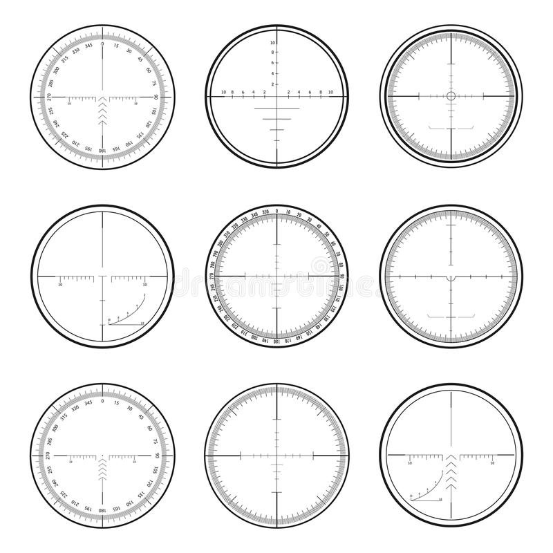 Prickskyttcrosshairsuppsättning royaltyfri illustrationer