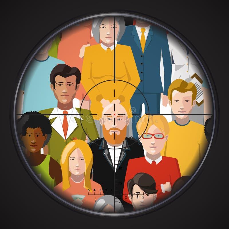 Prickskytttagande siktar på brottslingar i en folkmassa, plan illustration royaltyfri illustrationer