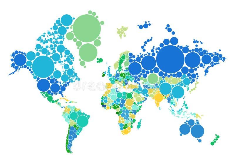 Prickvärldskarta med länder, vektor stock illustrationer