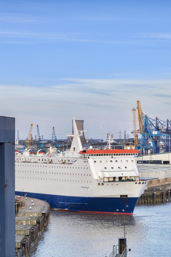 Pride of Bruges Leaving Port of Hull royalty free stock photo