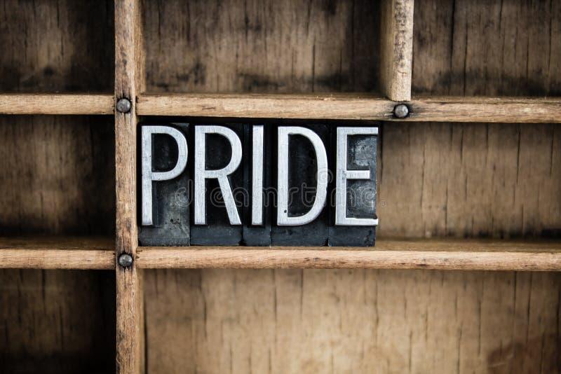 Pride Concept Metal Letterpress Word in cassetto immagine stock