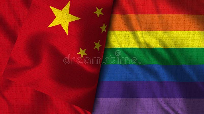 Pride Gay and China Flag - 3D illustration Flag stock illustration