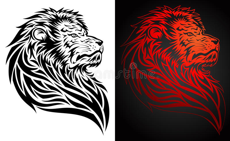 Pride Lion Tattoo. Illustration of a pride lion in tattoo/tribal style