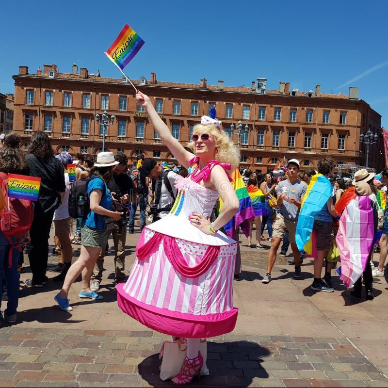 Pride March in de plaats van Capitool in Toulouse, Frankrijk royalty-vrije stock foto's