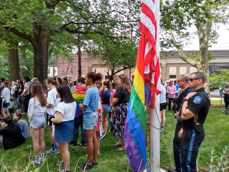 Pride Month, Pride Flag Raising, Rutherford, NJ, los E.E.U.U. imagenes de archivo