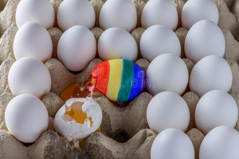 Isolated on white background in defending equality and diversity Gay rainbow flag and red heart