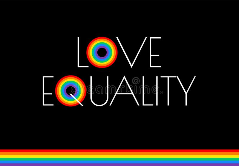 Pride month love and equality rainbow flag illustration - vector. Graphic for pride festival, march, event celebration lesbian, gay - black background vector illustration