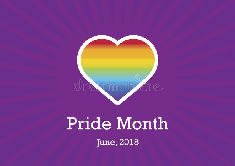 Pride Month vector. Celebrate LGBTQ Pride Month. Rainbow heart LGBT. Celebration of pride. Important day stock illustration