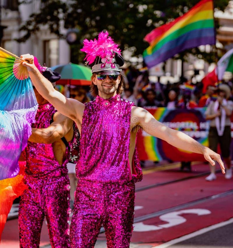 Pride Parade alegre em San Francisco - março do homem gay imagens de stock royalty free