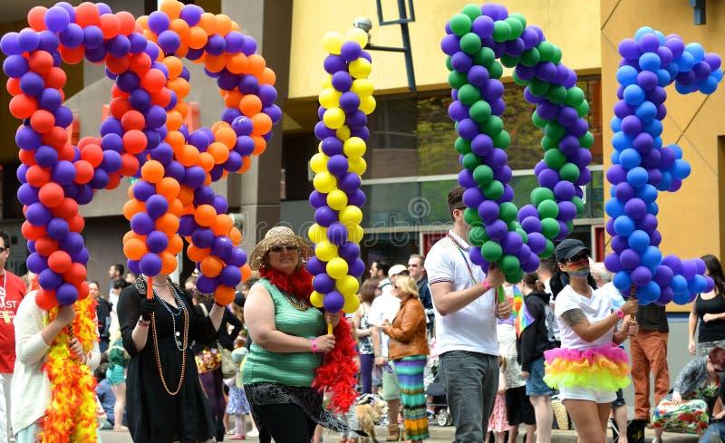Pride Parade Balloons. Ballons spelling pride at Edmonton's Pride Parade stock image