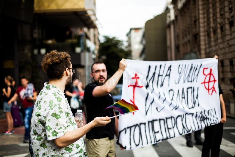 17 September 2017 - Gay Pride March in Belgrade Serbia. Opposition to that Pride. Pride Parade Belgrade is an association of citizens established in 2010 with royalty free stock image