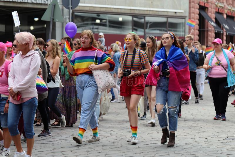 Pride Parade of Helsinki 2019: Rainbow Colored Flags and Accessories royalty free stock photography