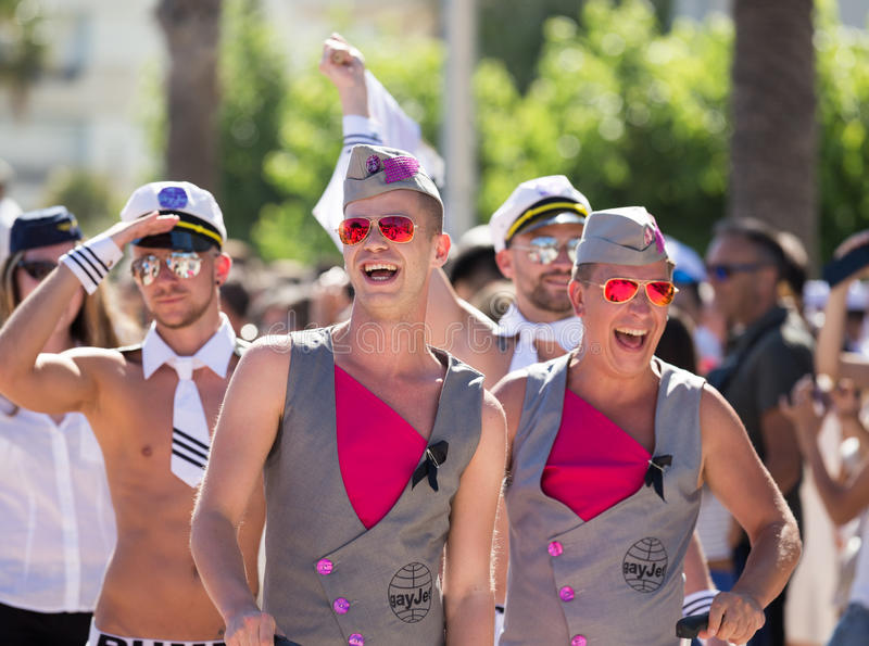 Pride parade in sitges. SITGES, SPAIN – JUNE 19, 2016: men in bright costumes celebrating Pride Parade event in Sitges, Spain stock photography