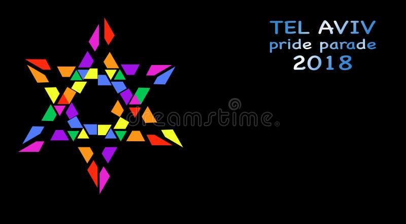 Pride Parade, Tel Aviv 2018, rainbow colored star of David. Vector isolated or black background. Gay Pride Parade, Tel Aviv June 8, 2018 stock illustration