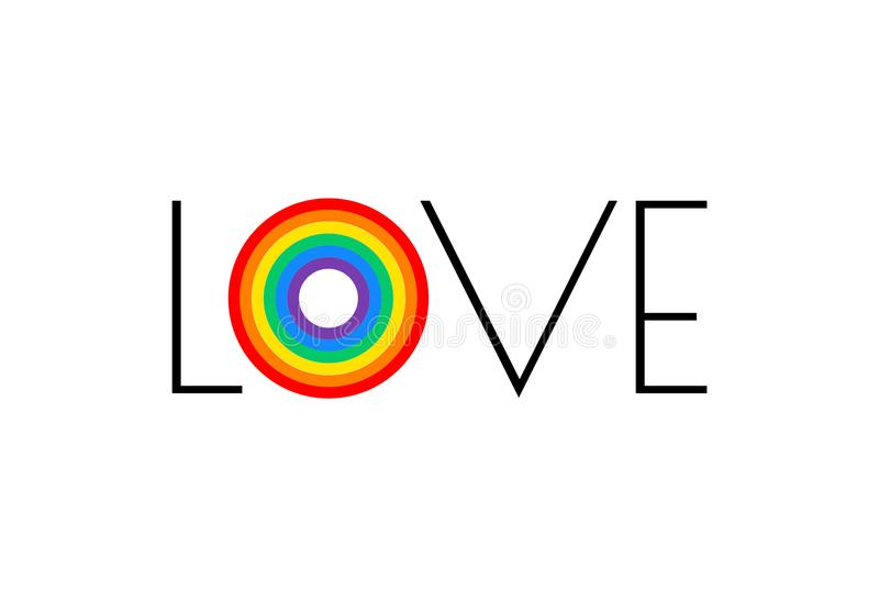 Pride rainbow flag love parade concept - love typography with pr. Ide rainbow - vector illustration for pride month event celebration lesbian, gay, bisexual stock illustration