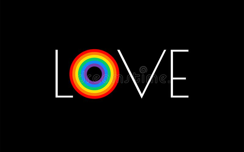 Pride rainbow flag love parade concept - love typography with pr. Ide rainbow - vector illustration for pride month event celebration - black background vector illustration