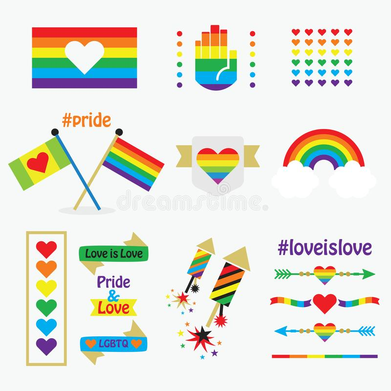 Pride rainbow flags, icons, emblems, dividers, and design elements set on white vector illustration