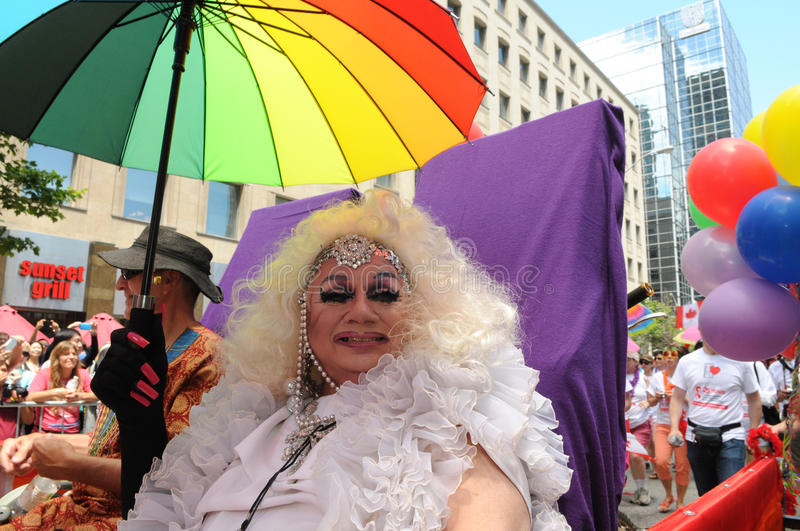 Pride 2014. TORONTO-JUNE 30: An drag queen sharing a smile during the Pride Parade on June 30, 2013 in Toronto-Canada stock photos