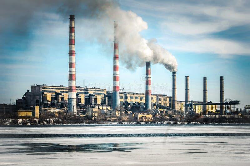 Pridneprovskaya TPP is een thermische elektrische centrale stock fotografie