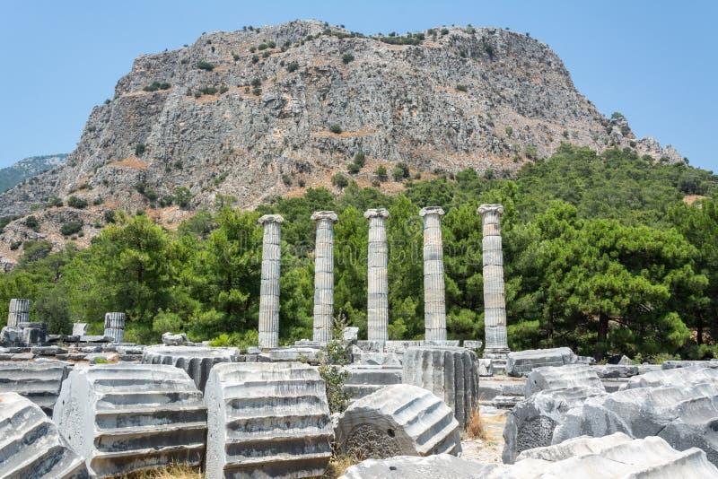 Priene古城废墟在土耳其 免版税库存照片