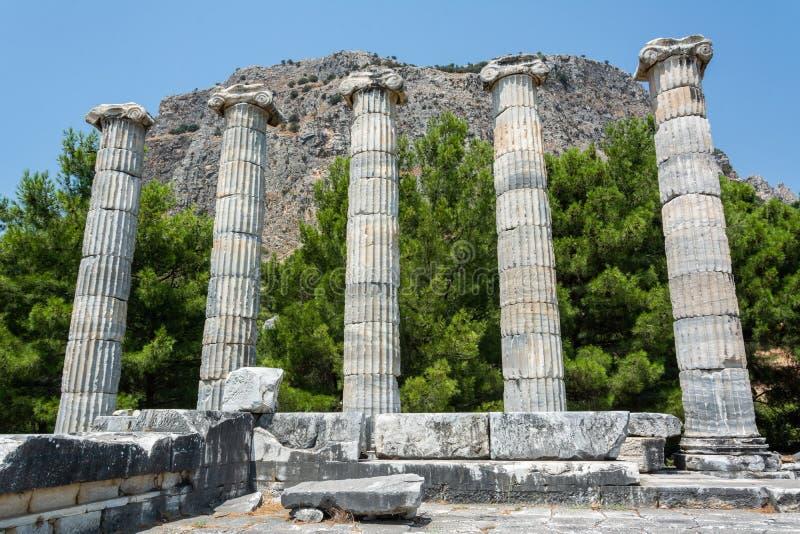 Priene古城废墟在土耳其 图库摄影