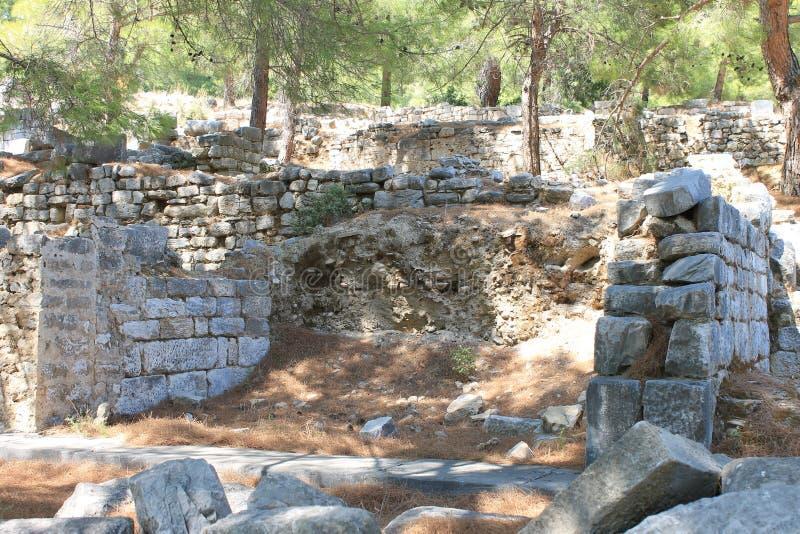 Prieneruïnes van een oude antieke stad royalty-vrije stock afbeelding