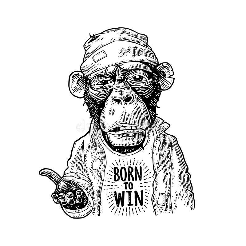 Prier de singes Inscription SOUTENUE POUR GAGNER Gravure noire de vintage illustration stock