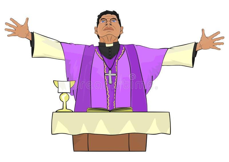 Priest. The Catholic priest celebrating Mass at the altar vector illustration