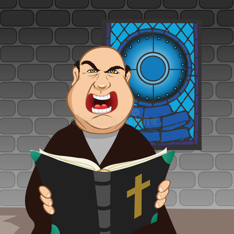 Priest angry royalty free illustration