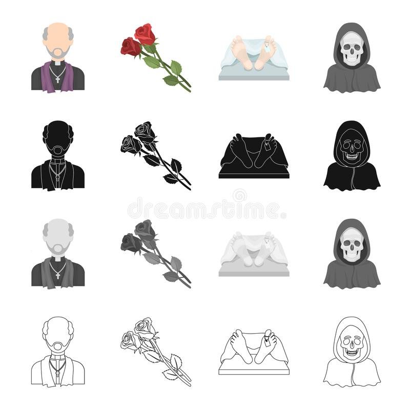 A priest, flowers for a funeral, a deceased person, an image of death. Funeral ceremony set collection icons in cartoon. Black monochrome outline style vector royalty free illustration