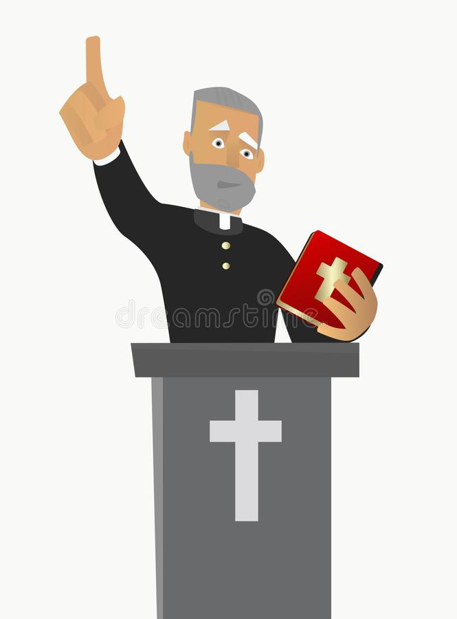 Priest gave a sermon in a church in worship. Vector illustration. royalty free illustration
