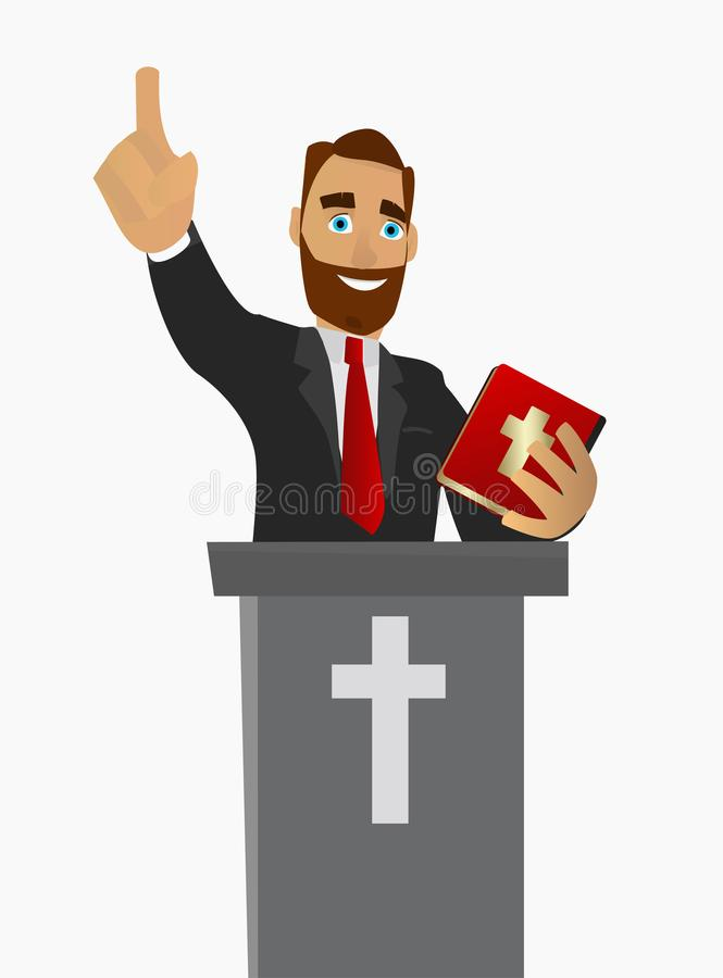 Priest gave a sermon in a church in worship. Vector illustration. vector illustration