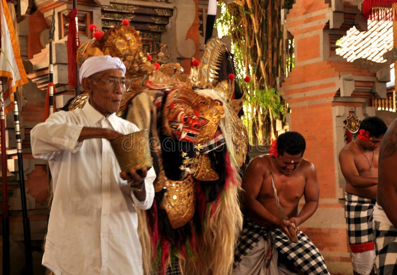 Priest Hindu and Barong, something mythological story in Balinese culture. Capture with my nikon, Priest Hindu and Barong, something mythological story in stock photo