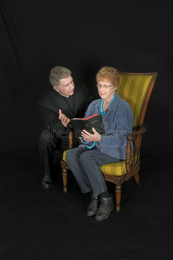 Priest or Minister, Mature Senior Woman, Bible Study