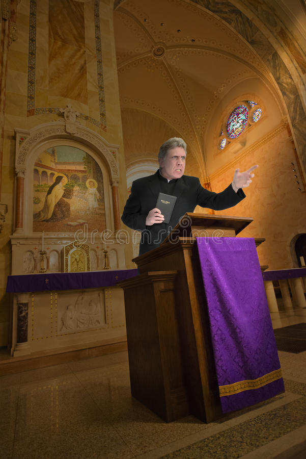 Priest, Preacher, Minister, Clergy Religion Sermon. You can call the man a priest, preacher, minister, or a clergy, but in this scene the male is is angry and royalty free stock photography