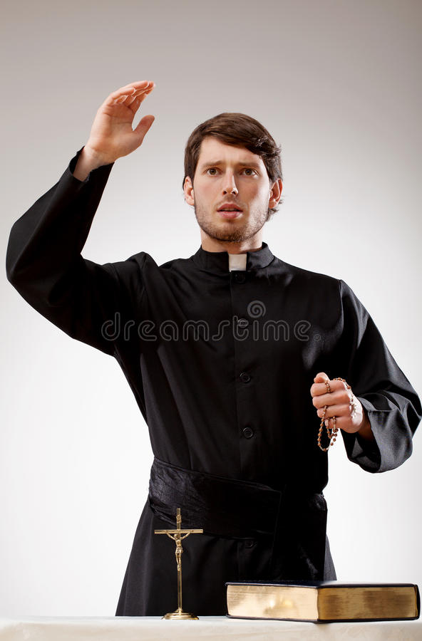 Priest is preaching a sermon royalty free stock images