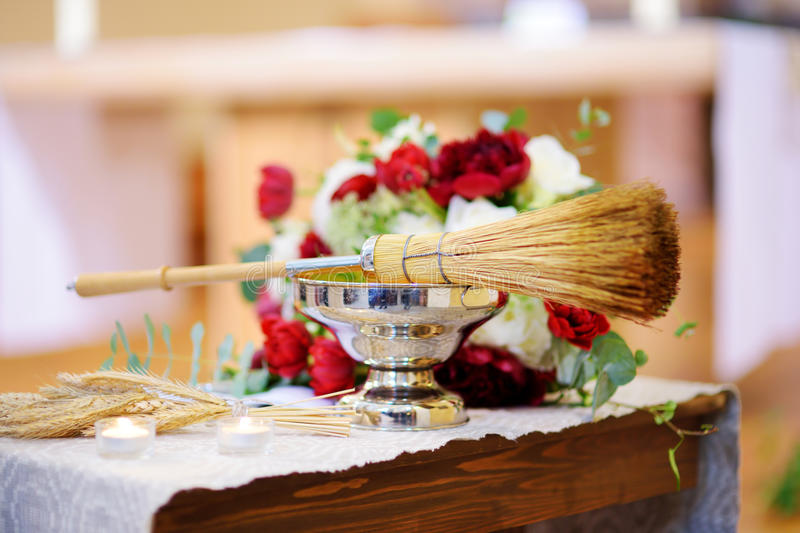 Priest`s wedding accessories during wedding ceremony in a church royalty free stock images
