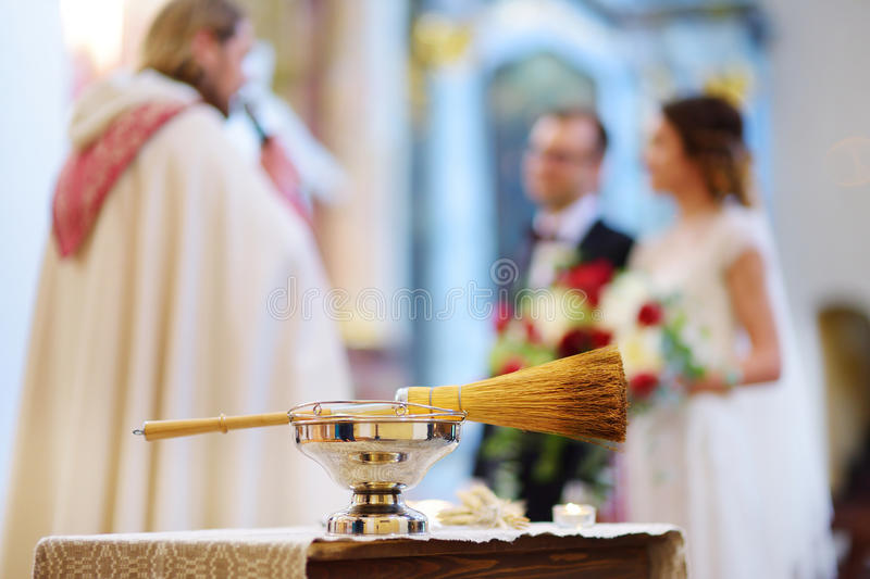 Priest`s wedding accessories during wedding ceremony in a church stock photos