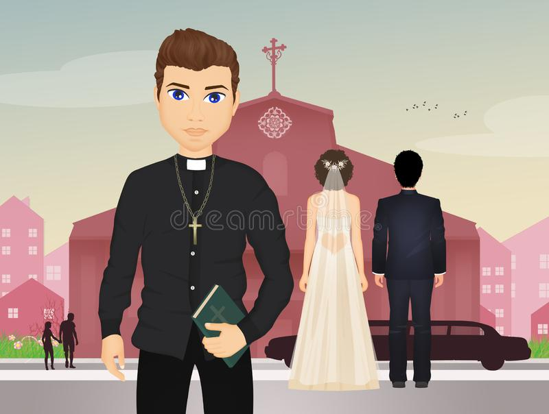 The priest with the spouses royalty free illustration