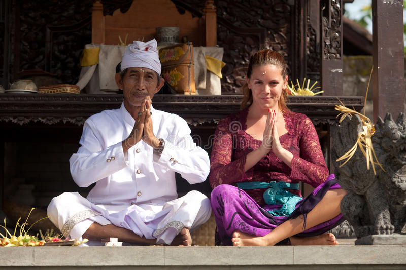 Download Priest and worshipper editorial stock image. Image of bali - 24474599