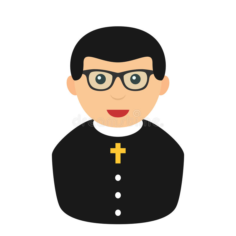 Priester Avatar Flat Icon op Wit wordt geïsoleerd dat royalty-vrije illustratie