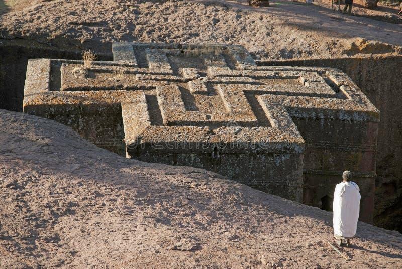 Oude rots gehouwen kerken van lalibela Ethiopië royalty-vrije stock foto's