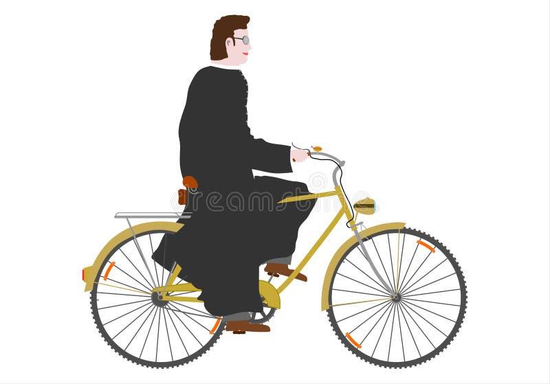Priester op een fiets. vector illustratie